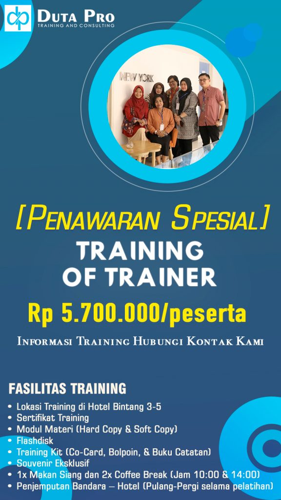 Duta Pro Training TRAINING OF TRAINER jadwal info Training of Trainer TOT Murah